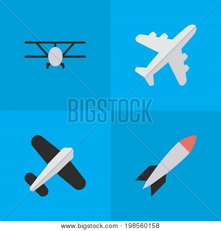 Elements Aviation, Airplane, Bomb And Other Synonyms Craft, Rocket And Plane.  Vector Illustration Set Of Simple Plane Icons.