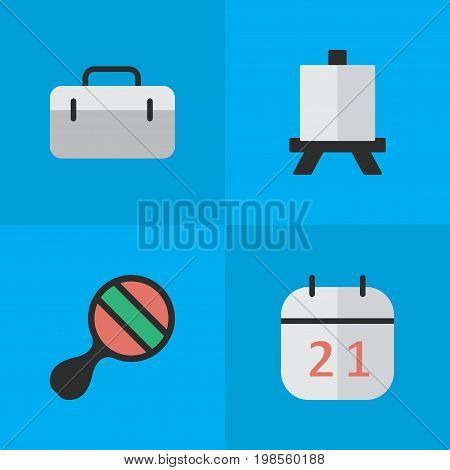 Elements Date Block, Easel, Briefcase And Other Synonyms Suitcase, Racket And Almanac.  Vector Illustration Set Of Simple Education Icons.