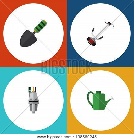 Flat Icon Garden Set Of Trowel, Grass-Cutter, Bailer And Other Vector Objects
