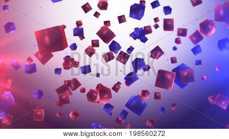 Flying Multicolored And Transparent Cubes In Air