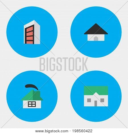 Elements Dwelling, Base, Construction And Other Synonyms Construction, House And Building.  Vector Illustration Set Of Simple Property Icons.
