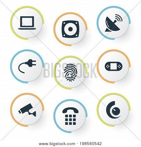Elements Call, Fingerprint, Antenna And Other Synonyms Speaker, Iot And Surveillance.  Vector Illustration Set Of Simple Internet Icons.