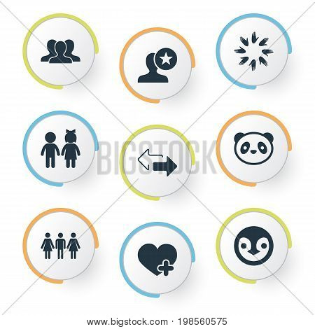 Elements Toy, Add, Arrows And Other Synonyms Heart, Union And Crowd.  Vector Illustration Set Of Simple  Icons.
