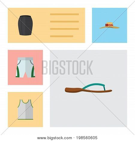 Flat Icon Garment Set Of Beach Sandal, Stylish Apparel, Singlet Vector Objects