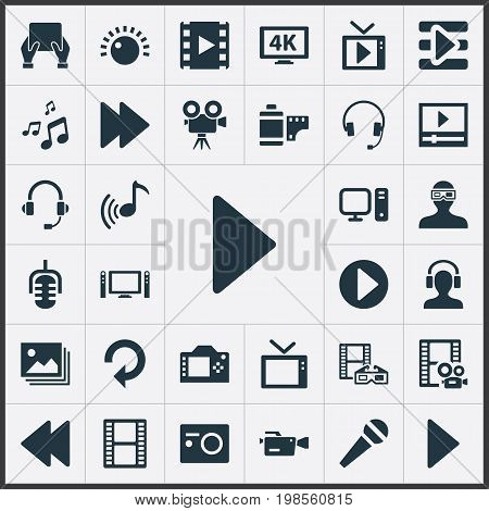 Elements Filmstrip, Crotchets, Mike And Other Synonyms Home, Brightness And Headphones.  Vector Illustration Set Of Simple Media Icons.