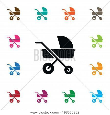 Stroller Vector Element Can Be Used For Baby, Stroller, Transportation Design Concept.  Isolated Transportation Icon.