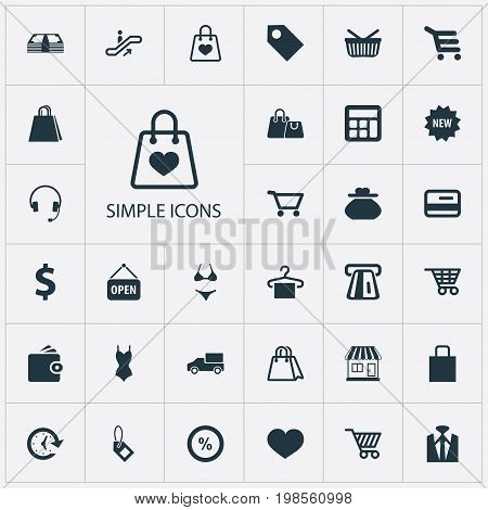 Elements Swimsuit, Paper Bag, Calculate And Other Synonyms Digital, Electronics And Money.  Vector Illustration Set Of Simple Money Icons.