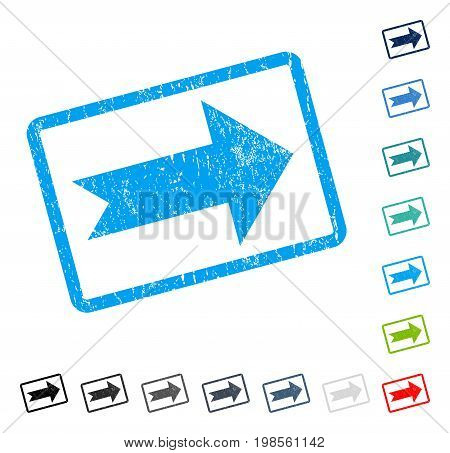 Arrow Right rubber watermark in some color versions.. Vector icon symbol inside rounded rectangle with grunge design and dust texture. Stamp seal illustration, unclean emblem.