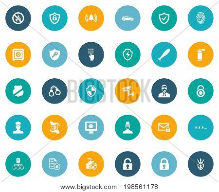 Elements Protect Home, Cop Automobile, Coding And Other Synonyms Siren, Virus And Camera.  Vector Illustration Set Of Simple Secure Icons.