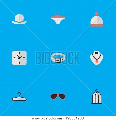 Elements Clothes Hook, Strap, Time And Other Synonyms Hat, Strap And Fedora.  Vector Illustration Set Of Simple Equipment Icons.