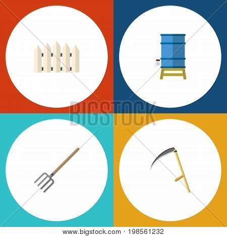 Flat Icon Farm Set Of Container, Wooden Barrier, Hay Fork And Other Vector Objects