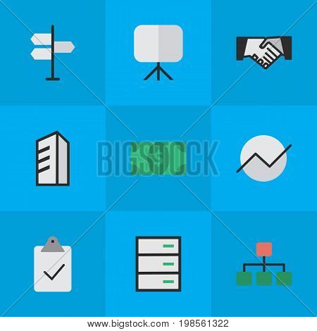 Elements Done, Easel, Drawer And Other Synonyms Diagram, Signpost And Greenback.  Vector Illustration Set Of Simple Trade Icons.