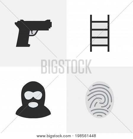 Elements Criminal, Weapon, Stairs And Other Synonyms Bioskyner, Weapon And Protection.  Vector Illustration Set Of Simple Offense Icons.