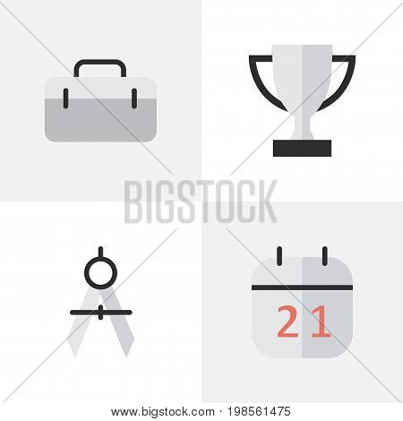 Elements Goblet, Briefcase, Date Block And Other Synonyms Goblet, Championship And Date.  Vector Illustration Set Of Simple Education Icons.