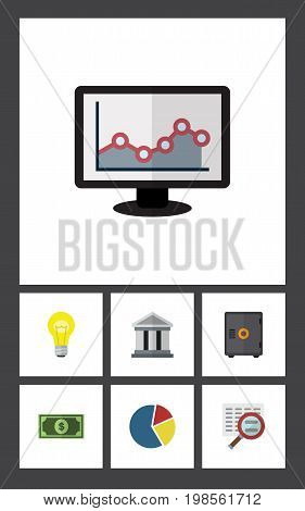 Flat Icon Finance Set Of Strongbox, Greenback, Scan And Other Vector Objects