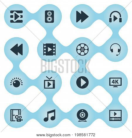 Elements Earmuff, Shine, Music Listening And Other Synonyms Brightness, Begin And Direction.  Vector Illustration Set Of Simple Multi Icons.