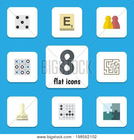Flat Icon Entertainment Set Of Mahjong, Labyrinth, People And Other Vector Objects