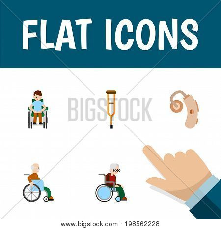 Flat Icon Disabled Set Of Disabled Person, Stand, Handicapped Man Vector Objects