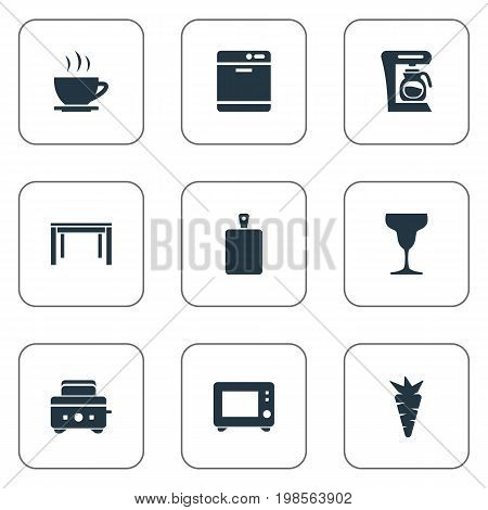 Elements Wineglass, Dishware Washer, Oven And Other Synonyms Toaster, Organic And Bakery.  Vector Illustration Set Of Simple Gastronomy Icons.