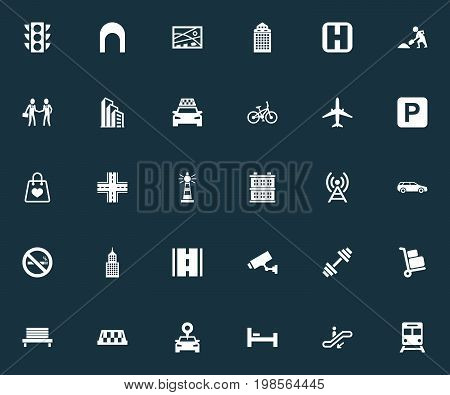 Elements Way, Car, Corporation And Other Synonyms Car, Building And Location.  Vector Illustration Set Of Simple Infrastructure Icons.