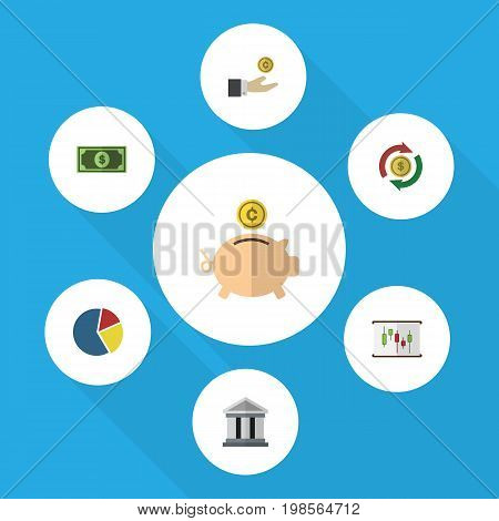 Flat Icon Incoming Set Of Hand With Coin, Money Box, Bank Vector Objects