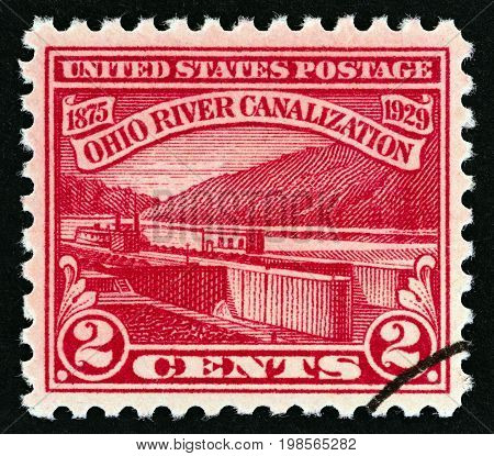 USA - CIRCA 1929: A stamp printed in USA issued for the Completion of Ohio River Canalization shows Ohio River Lock No. 5, Monongahela River, Brownsville, Pennsylvania, circa 1929.