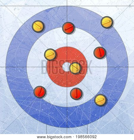 Sport. Curling stones on ice. Curling House. Playground for curling sport game. Red and yellow stones. Textures blue ice. Ice rink. Vector illustration. Background.