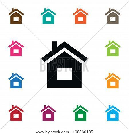 Build Vector Element Can Be Used For Residence, Home, House Design Concept.  Isolated Residence Icon.