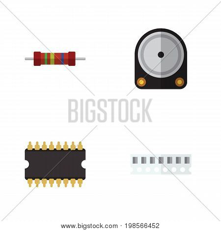 Flat Icon Device Set Of Hdd, Resistance, Microprocessor And Other Vector Objects