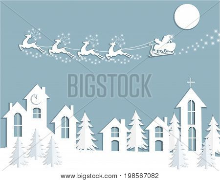 New Year s, Christmas card. Abstract silhouette of deer and Santa Claus over houses. Cut from paper. Vector illustration