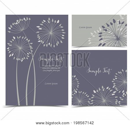 Vector illustration of dandelion flower. Dark background with flowers with place for text. Set of greeting cards