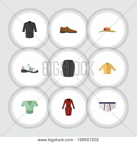 Flat Icon Clothes Set Of Underclothes, Sneakers, Uniform And Other Vector Objects