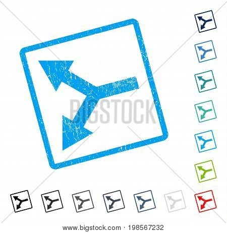 Bifurcation Arrow Left rubber watermark in some color versions.. Vector pictogram symbol inside rounded rectangle with grunge design and dirty texture. Stamp seal illustration, unclean emblem.
