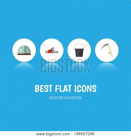 Flat Icon Farm Set Of Hothouse, Cutter, Hacksaw And Other Vector Objects