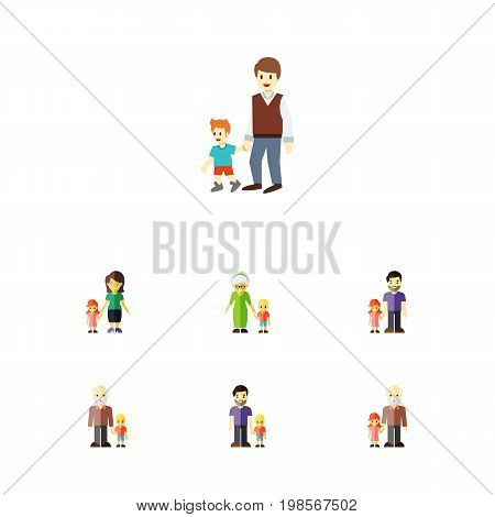 Flat Icon Relatives Set Of Grandma, Boys, Son Vector Objects