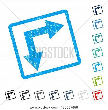 Bifurcation Arrow Right Down rubber watermark in some color versions.. Vector pictogram symbol inside rounded rectangular frame with grunge design and dust texture. Stamp seal illustration,