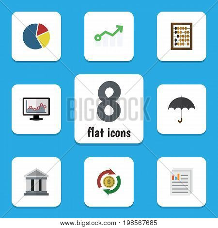 Flat Icon Gain Set Of Document, Chart, Counter And Other Vector Objects