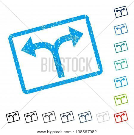 Bifurcation Arrows Left Right rubber watermark in some color versions.. Vector pictogram symbol inside rounded rectangle with grunge design and dirty texture. Stamp seal illustration, unclean sticker.