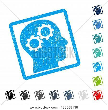 Brain Gears rubber watermark in some color versions.. Vector icon symbol inside rounded rectangle with grunge design and dust texture. Stamp seal illustration, unclean sticker.
