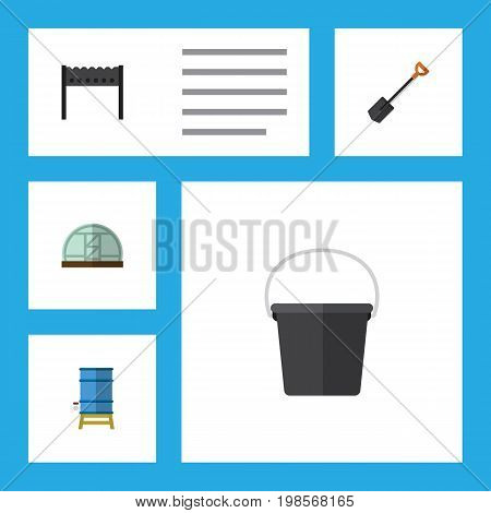 Flat Icon Garden Set Of Container, Spade, Barbecue And Other Vector Objects