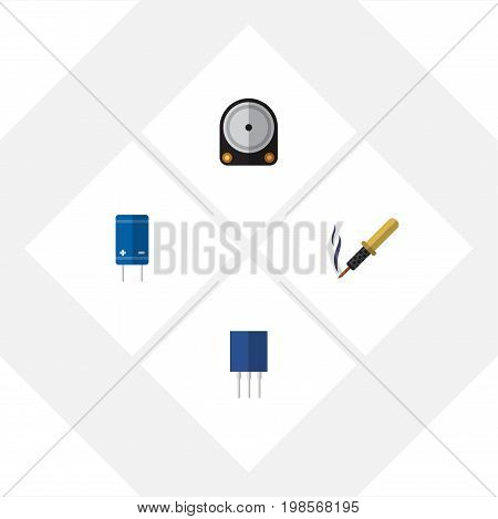 Flat Icon Appliance Set Of Repair, Receptacle, Transistor And Other Vector Objects