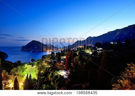 The night view on a bay and beach in Paleokastritsa Corfu Greece