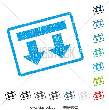 Bring Down rubber watermark in some color versions.. Vector icon symbol inside rounded rectangular frame with grunge design and unclean texture. Stamp seal illustration, unclean sticker.