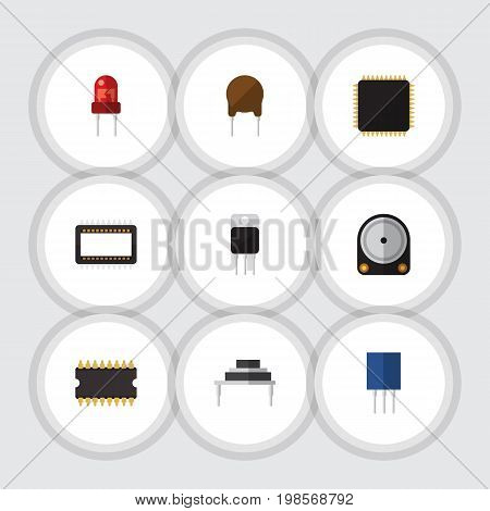 Flat Icon Electronics Set Of Recipient, Hdd, Triode And Other Vector Objects