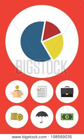 Flat Icon Gain Set Of Greenback, Parasol, Cash And Other Vector Objects