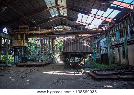 Abandoned factory. Ruins of the Sukhumi Shipyard