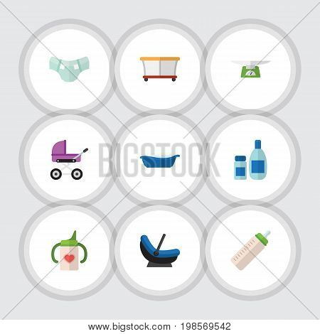 Flat Icon Child Set Of Stroller, Bathtub, Nappy And Other Vector Objects