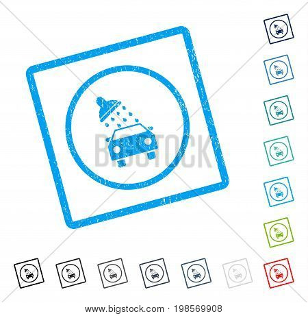 Car Wash rubber watermark in some color versions.. Vector pictogram symbol inside rounded rectangular frame with grunge design and scratched texture. Stamp seal illustration, unclean emblem.