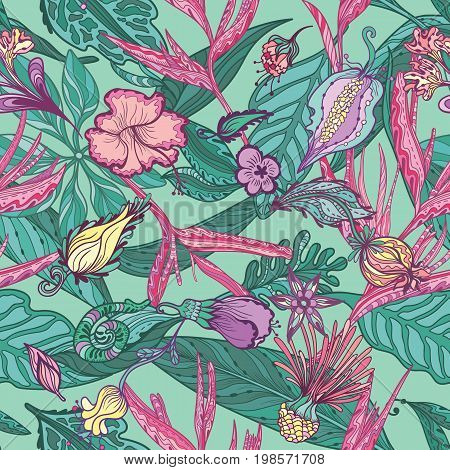 Seamless sketch style tropical paradise turquoise and pink texture for textile and print design