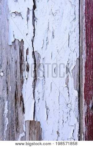 Crackled white paint on old wooden wall.